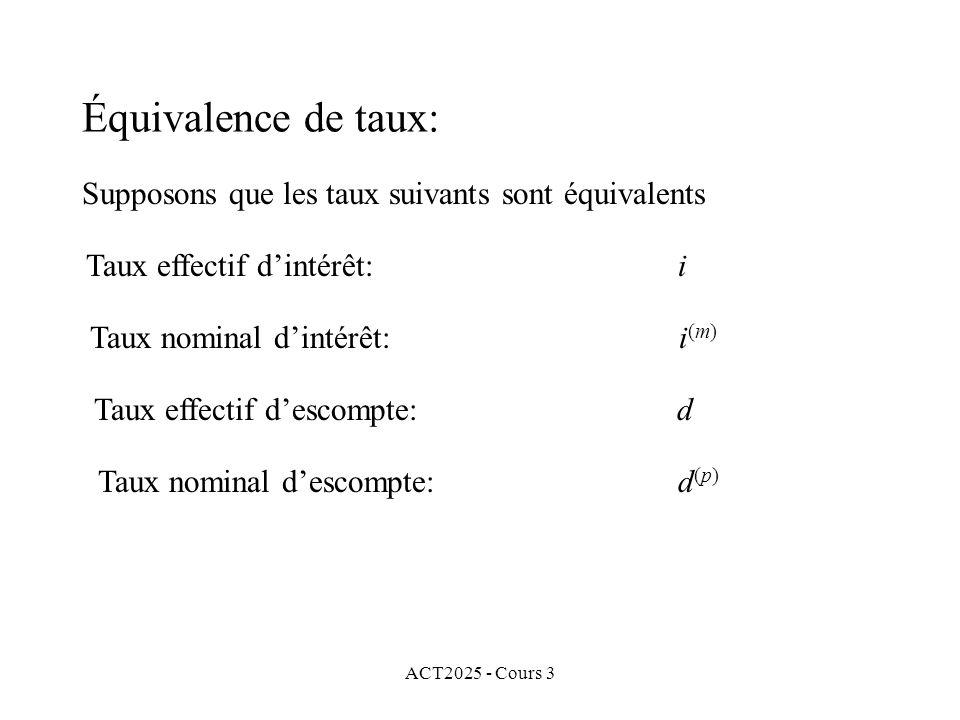 ACT2025 - Cours 3 Équivalence de taux: Supposons que les taux suivants sont équivalents Taux effectif dintérêt: i Taux nominal dintérêt: i (m) Taux ef