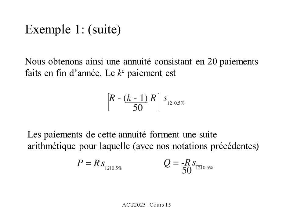 ACT2025 - Cours 15 Exemple 1: (suite) Nous obtenons ainsi une annuité consistant en 20 paiements faits en fin dannée. Le k e paiement est Les paiement
