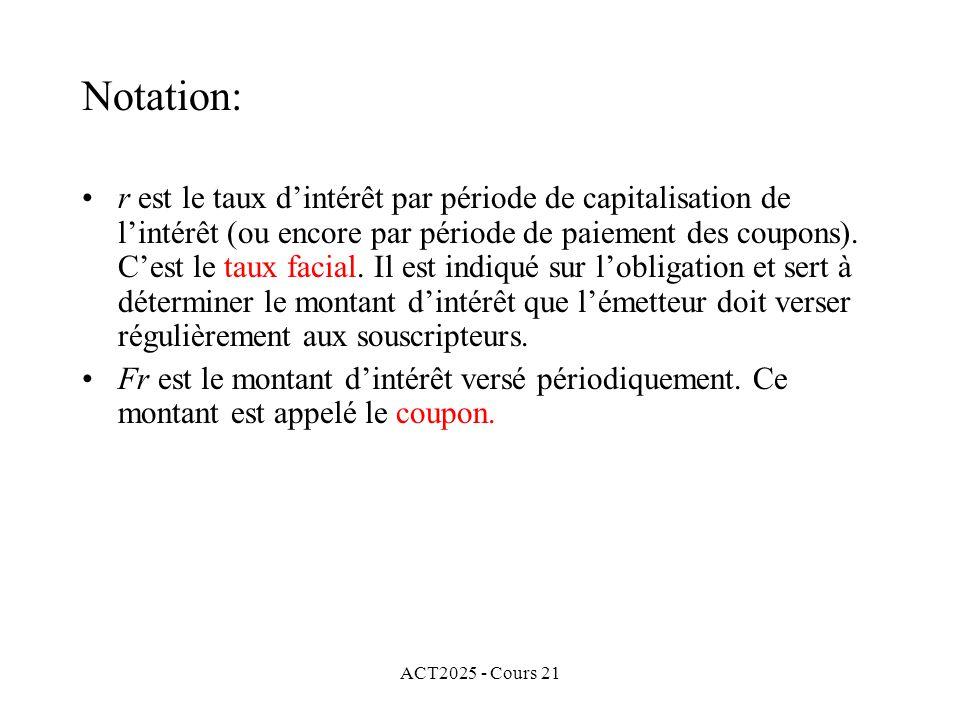 ACT2025 - Cours 21 r est le taux dintérêt par période de capitalisation de lintérêt (ou encore par période de paiement des coupons).