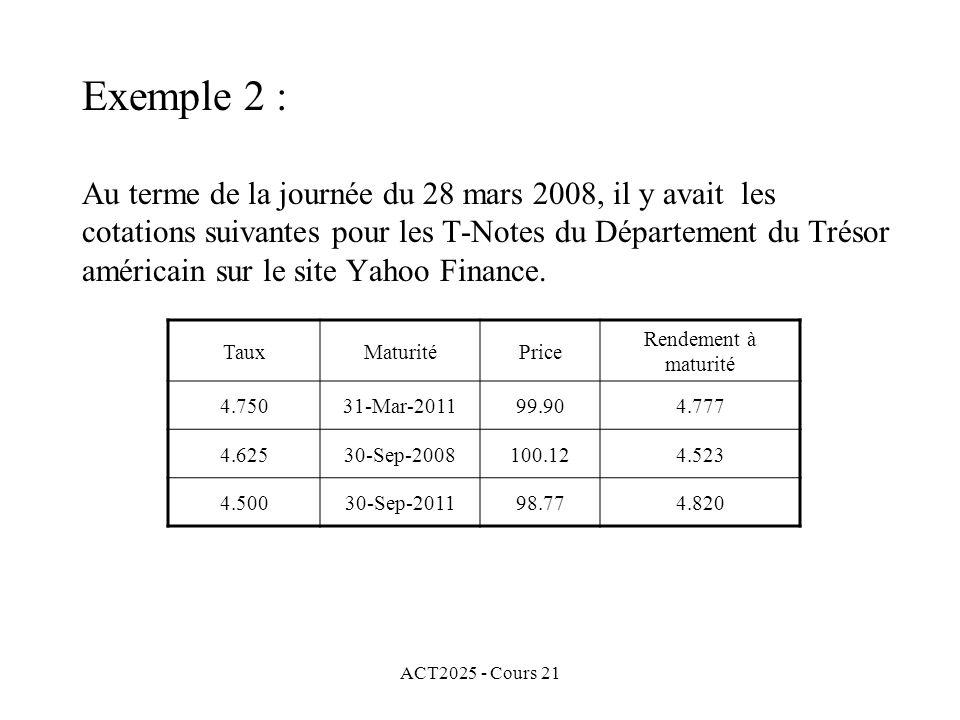 ACT2025 - Cours 21 Au terme de la journée du 28 mars 2008, il y avait les cotations suivantes pour les T-Notes du Département du Trésor américain sur le site Yahoo Finance.