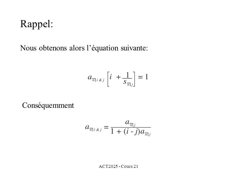 ACT2025 - Cours 21 Finalement si nous considérons maintenant la formule de Makeham, alors le taux modifié dintérêt g est défini par Cg = Fr (« = coupon ») et, pour cette obligation, nous obtenons 78000 g = 3000 et g = 3.846153846%.