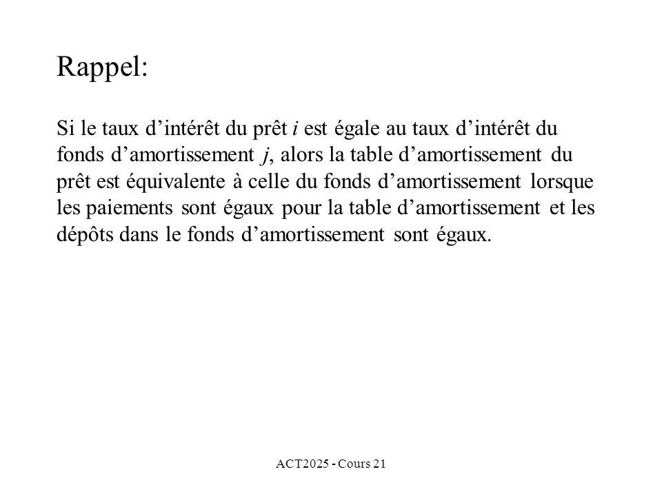 ACT2025 - Cours 21 Le montant net dintérêt payé à la fin de la k e période dans le cas du fonds damortissement est égal à la portion dintérêt payé dans le k e paiement dans la table damortissement.