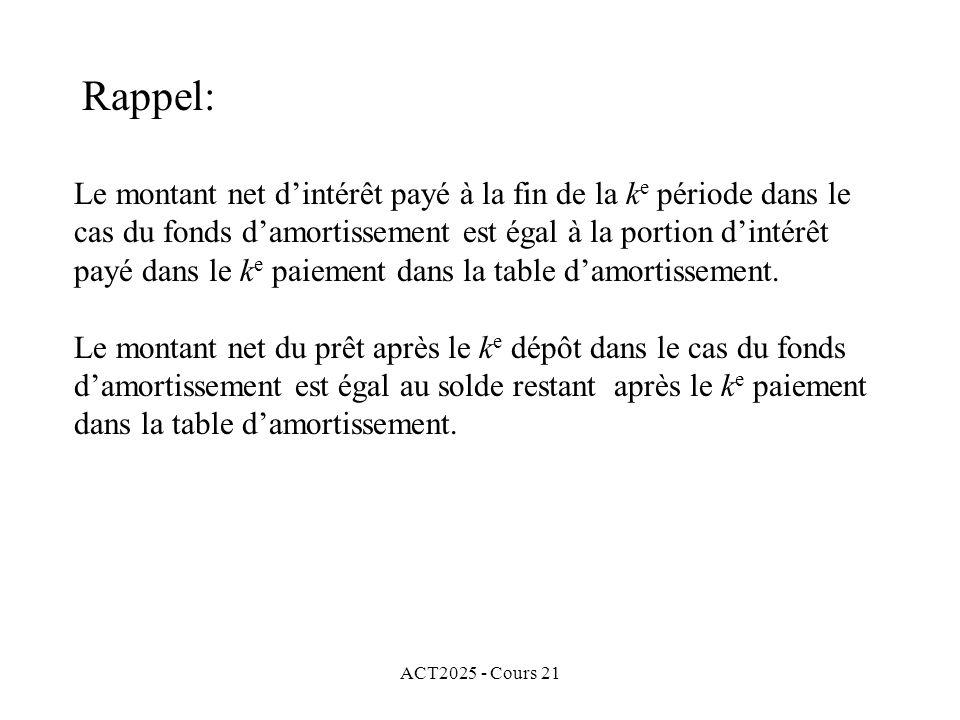 ACT2025 - Cours 21 Si i = j, nous avons aussi que et le total versé (intérêt et dépôt) dans le cas du fonds damortissement est égal au paiement dans le cas de la table damortissement.