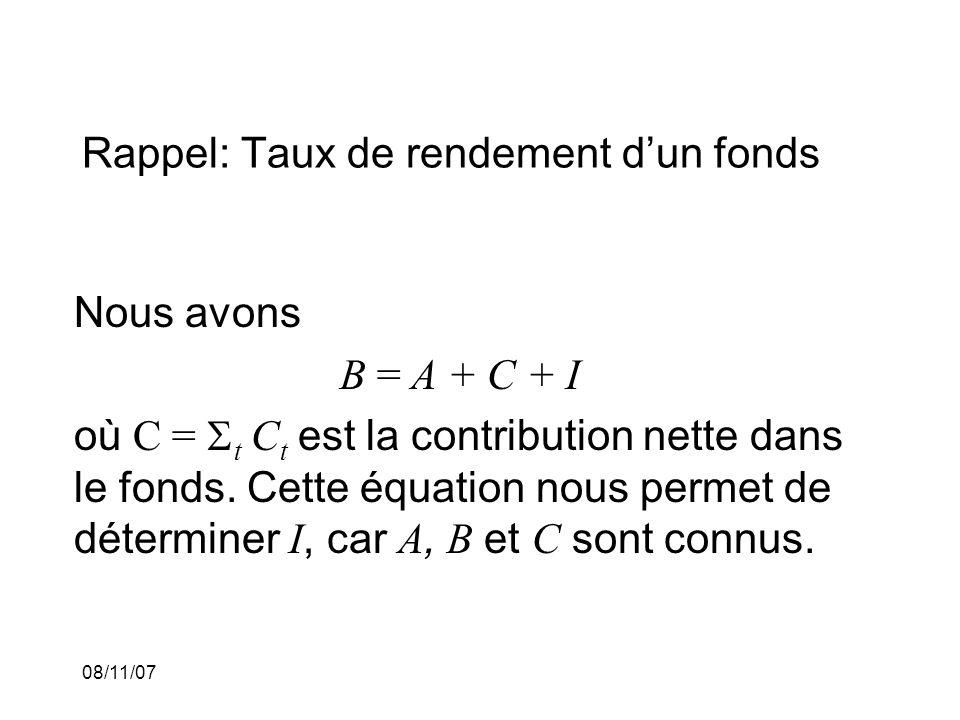08/11/07 Rappel: Taux de rendement dun fonds Nous avons B = A + C + I où C = t C t est la contribution nette dans le fonds. Cette équation nous permet