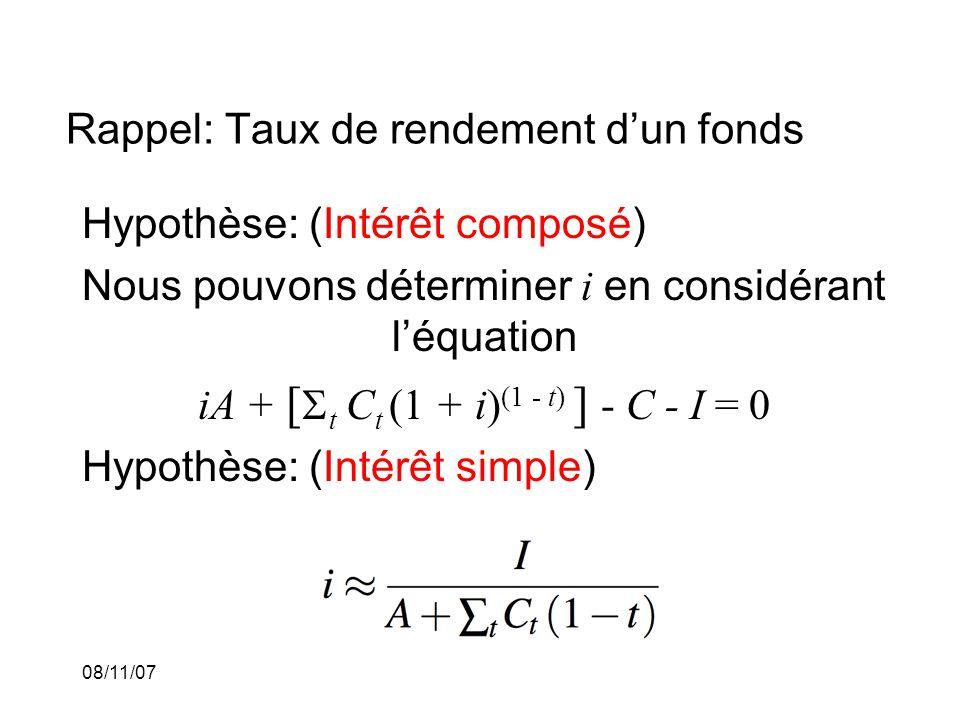 08/11/07 Rappel: Taux de rendement dun fonds Hypothèse: (Intérêt composé) Nous pouvons déterminer i en considérant léquation iA + [ t C t (1 + i) (1 - t) ] - C - I = 0 Hypothèse: (Intérêt simple)
