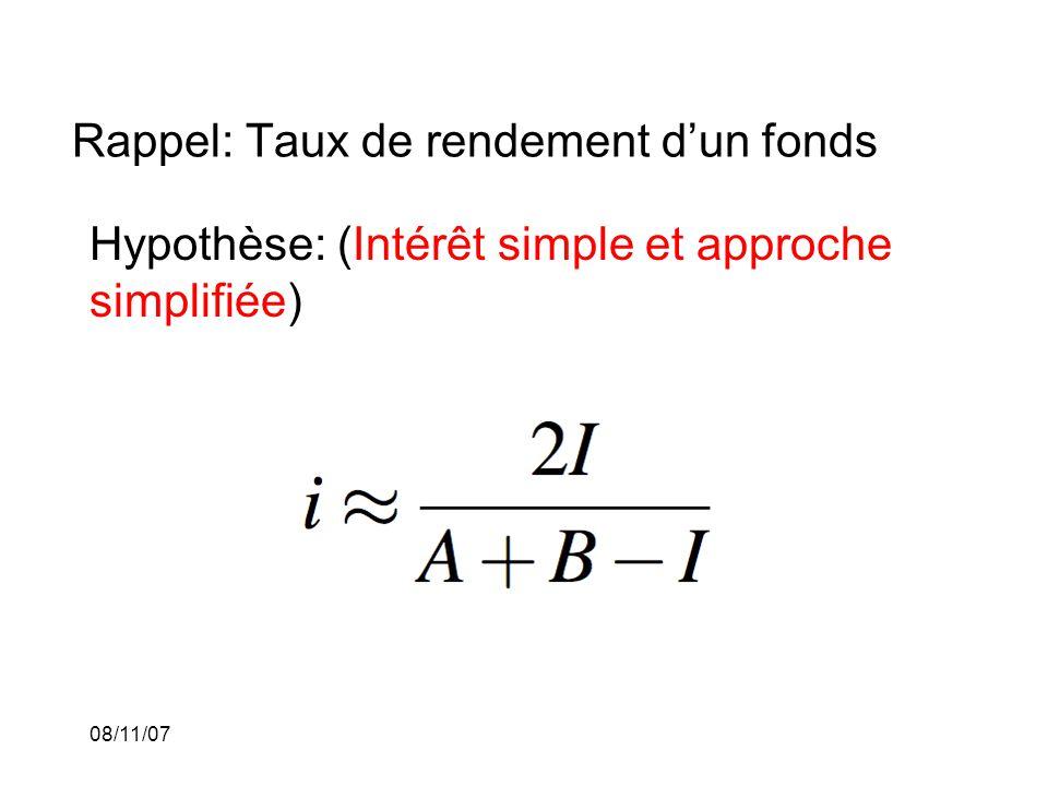 08/11/07 Rappel: Taux de rendement dun fonds Hypothèse: (Intérêt simple et approche simplifiée)