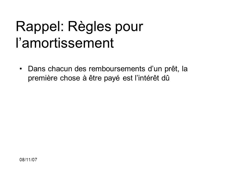 08/11/07 Rappel: Règles pour lamortissement Dans chacun des remboursements dun prêt, la première chose à être payé est lintérêt dû