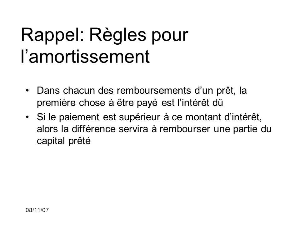 08/11/07 Rappel: Règles pour lamortissement Dans chacun des remboursements dun prêt, la première chose à être payé est lintérêt dû Si le paiement est supérieur à ce montant dintérêt, alors la différence servira à rembourser une partie du capital prêté