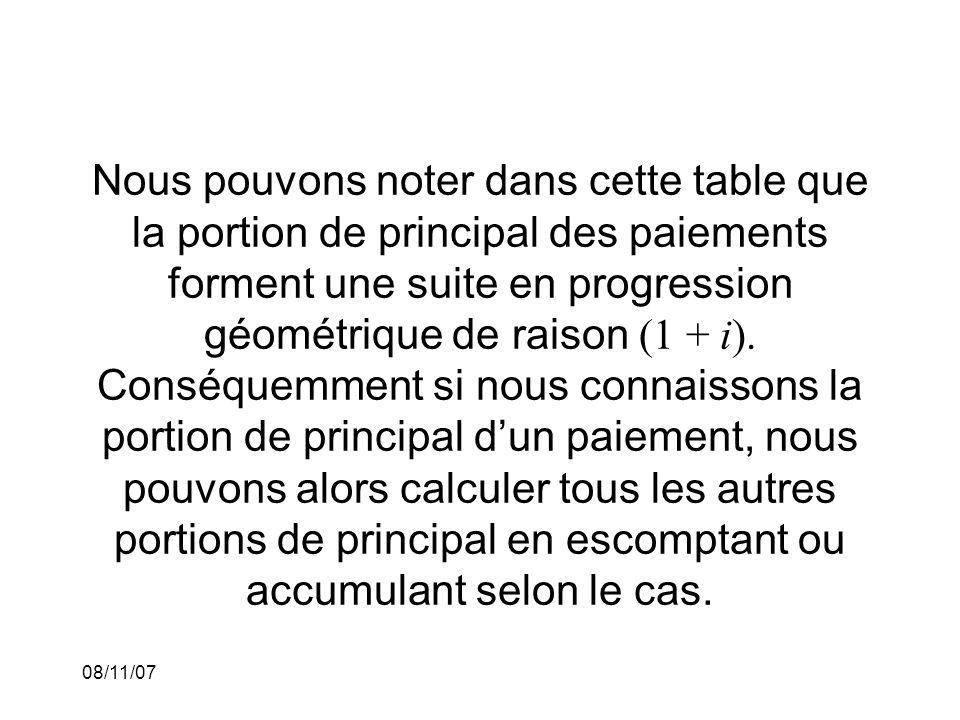 Nous pouvons noter dans cette table que la portion de principal des paiements forment une suite en progression géométrique de raison (1 + i). Conséque