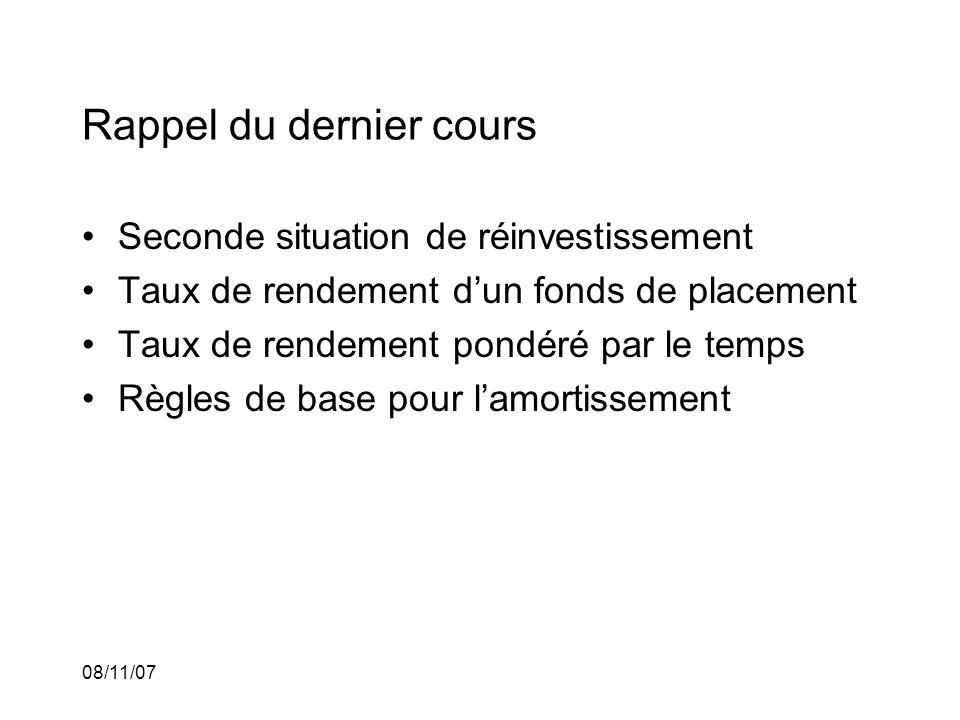 08/11/07 Rappel: Réinvestissement (deuxième situation): Dans celle-ci, linvestisseur verse $1 à la fin de chaque période pendant n périodes dans un placement.