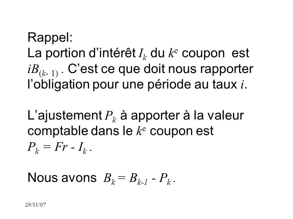 29/11/07 Rappel: La portion dintérêt I k du k e coupon est iB (k- 1).
