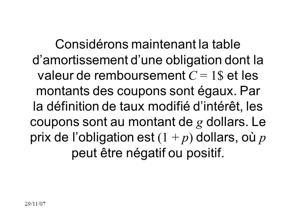 29/11/07 Considérons maintenant la table damortissement dune obligation dont la valeur de remboursement C = 1$ et les montants des coupons sont égaux.