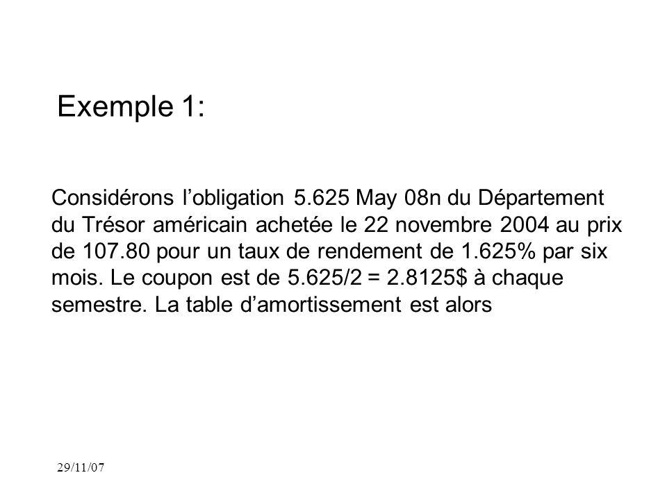 Exemple 1: Considérons lobligation 5.625 May 08n du Département du Trésor américain achetée le 22 novembre 2004 au prix de 107.80 pour un taux de rendement de 1.625% par six mois.