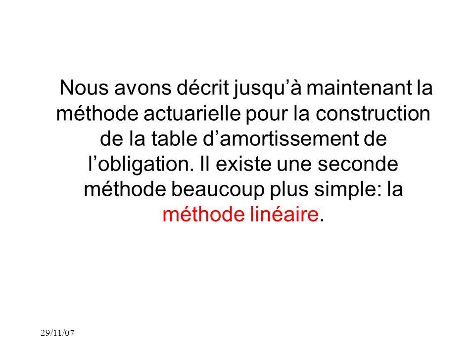 29/11/07 Nous avons décrit jusquà maintenant la méthode actuarielle pour la construction de la table damortissement de lobligation.