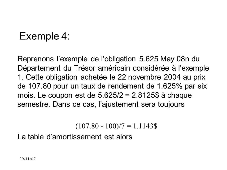 29/11/07 Exemple 4: Reprenons lexemple de lobligation 5.625 May 08n du Département du Trésor américain considérée à lexemple 1.