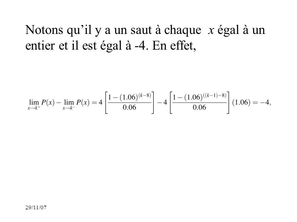 Notons quil y a un saut à chaque x égal à un entier et il est égal à -4. En effet,