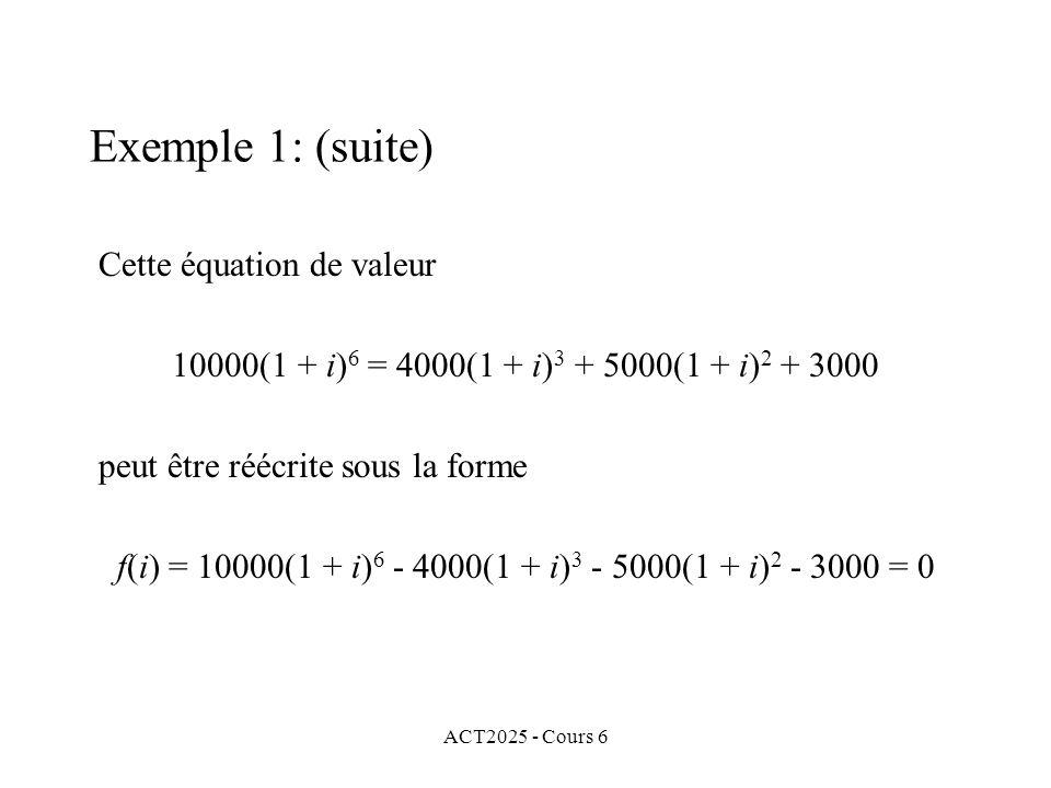 ACT2025 - Cours 6 Exemple 1: (suite) Cette équation de valeur 10000(1 + i) 6 = 4000(1 + i) 3 + 5000(1 + i) 2 + 3000 peut être réécrite sous la forme f