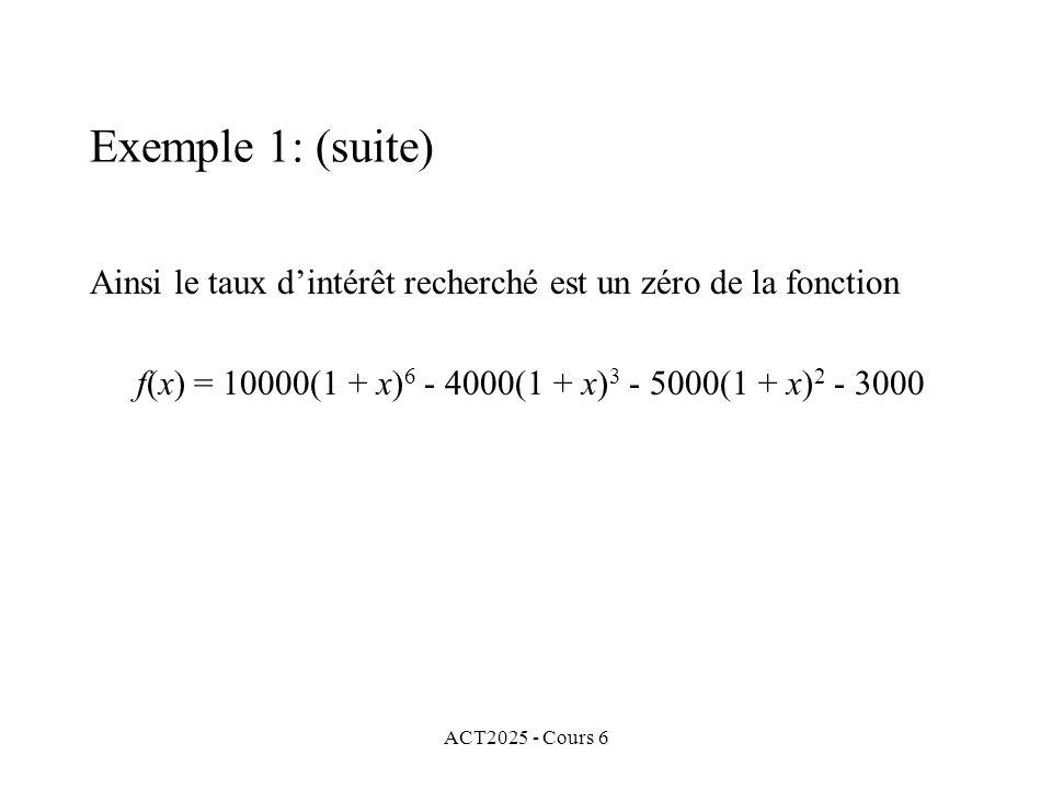 ACT2025 - Cours 6 Ainsi le taux dintérêt recherché est un zéro de la fonction f(x) = 10000(1 + x) 6 - 4000(1 + x) 3 - 5000(1 + x) 2 - 3000 Exemple 1: