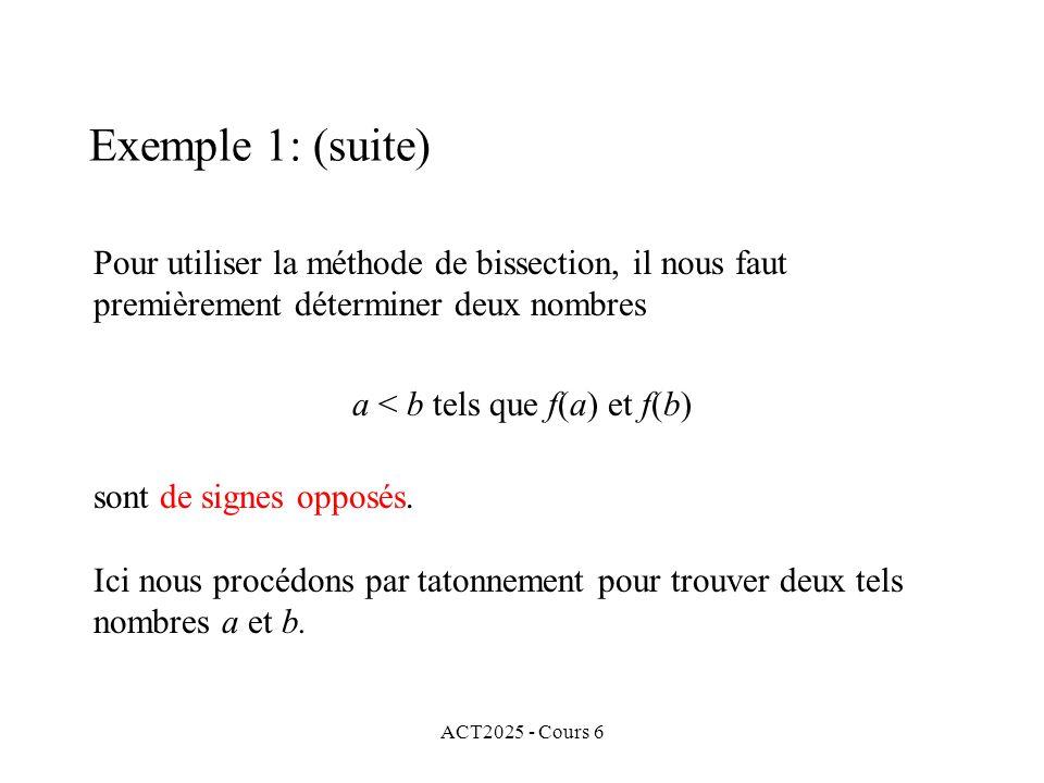 ACT2025 - Cours 6 Pour utiliser la méthode de bissection, il nous faut premièrement déterminer deux nombres a < b tels que f(a) et f(b) sont de signes