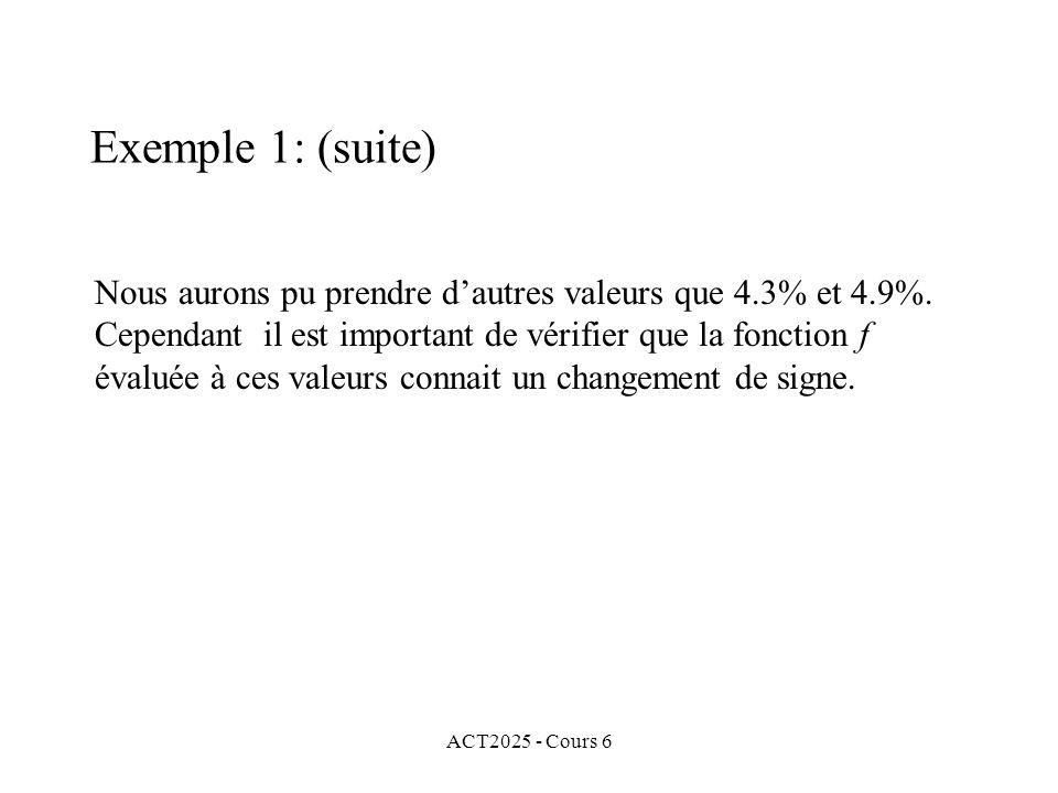 ACT2025 - Cours 6 Nous aurons pu prendre dautres valeurs que 4.3% et 4.9%. Cependant il est important de vérifier que la fonction f évaluée à ces vale