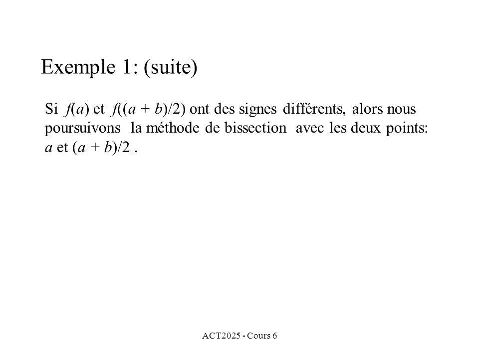 ACT2025 - Cours 6 Si f(a) et f((a + b)/2) ont des signes différents, alors nous poursuivons la méthode de bissection avec les deux points: a et (a + b