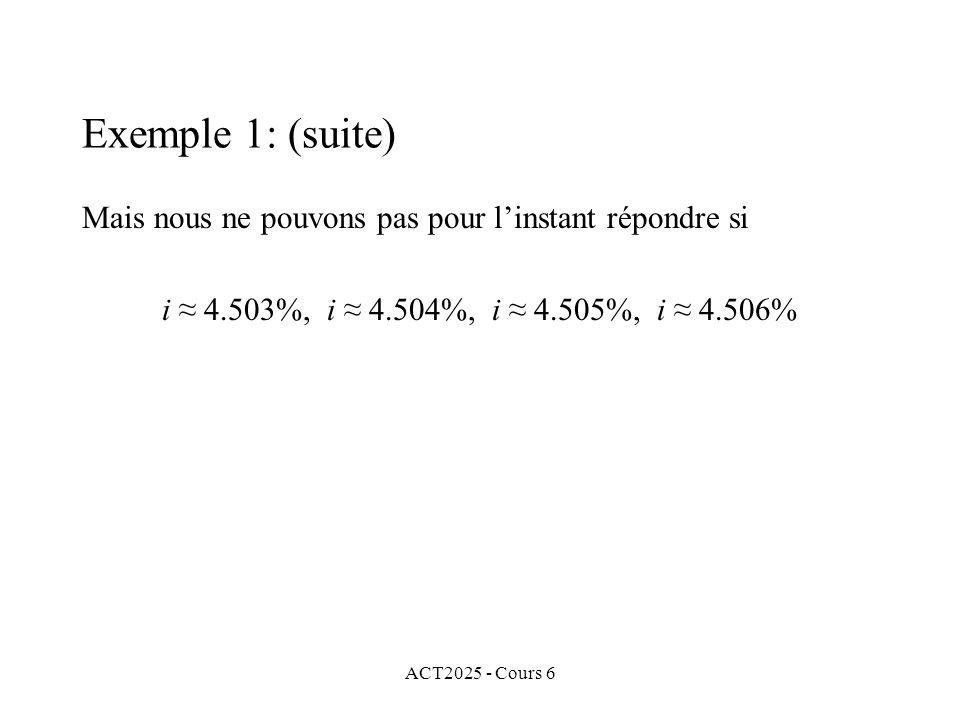 ACT2025 - Cours 6 Mais nous ne pouvons pas pour linstant répondre si i 4.503%, i 4.504%, i 4.505%, i 4.506% Exemple 1: (suite)