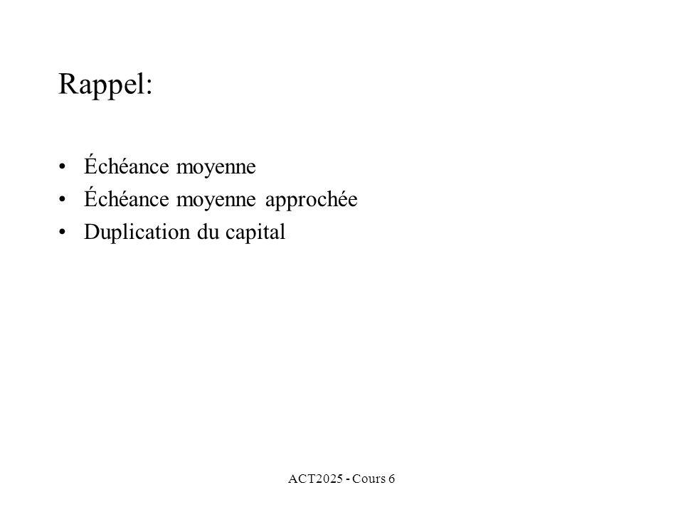 ACT2025 - Cours 6 Rappel: Échéance moyenne Échéance moyenne approchée Duplication du capital