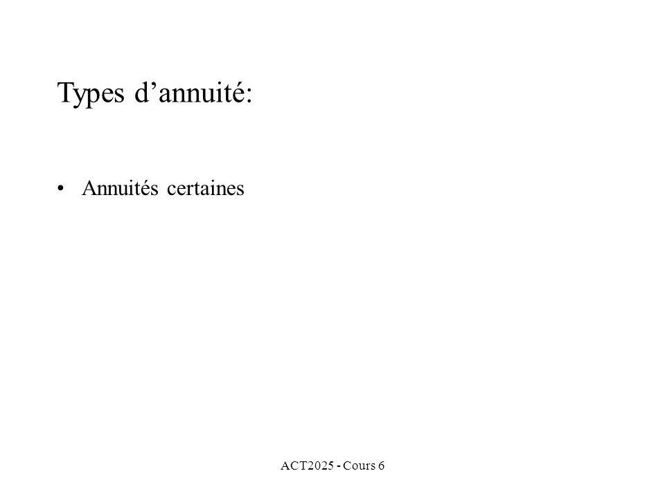 ACT2025 - Cours 6 Annuités certaines Types dannuité: