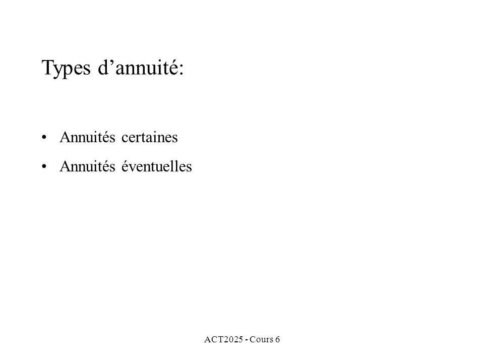 ACT2025 - Cours 6 Annuités certaines Annuités éventuelles Types dannuité:
