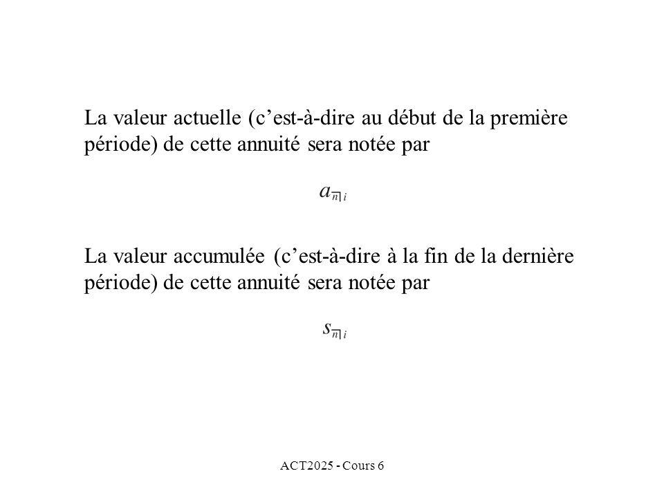 ACT2025 - Cours 6 La valeur actuelle (cest-à-dire au début de la première période) de cette annuité sera notée par La valeur accumulée (cest-à-dire à