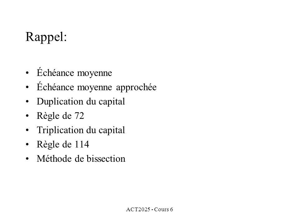 ACT2025 - Cours 6 Rappel: Échéance moyenne Échéance moyenne approchée Duplication du capital Règle de 72 Triplication du capital Règle de 114 Méthode