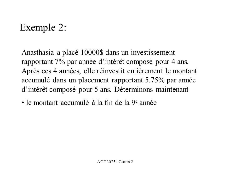 ACT2025 - Cours 2 Exemple 2: Anasthasia a placé 10000$ dans un investissement rapportant 7% par année dintérêt composé pour 4 ans.