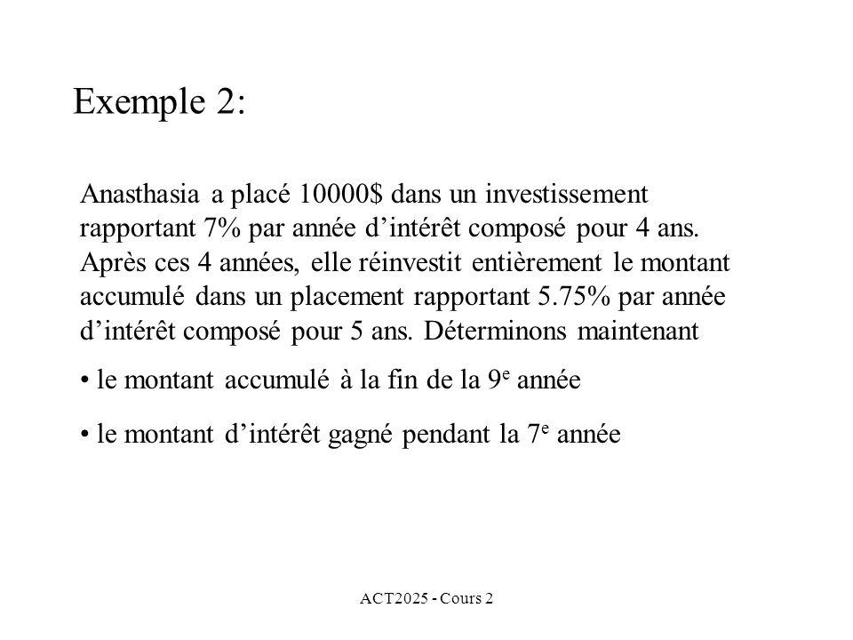 ACT2025 - Cours 2 Exemple 2: Anasthasia a placé 10000$ dans un investissement rapportant 7% par année dintérêt composé pour 4 ans. Après ces 4 années,
