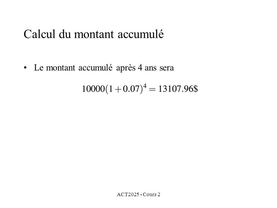 ACT2025 - Cours 2 Calcul du montant accumulé Le montant accumulé après 4 ans sera