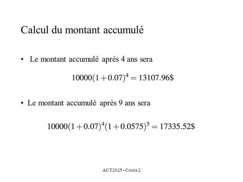 ACT2025 - Cours 2 Calcul du montant accumulé Le montant accumulé après 4 ans sera Le montant accumulé après 9 ans sera