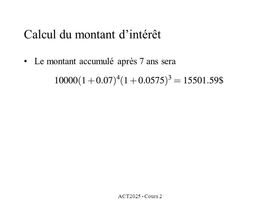 ACT2025 - Cours 2 Calcul du montant dintérêt Le montant accumulé après 7 ans sera