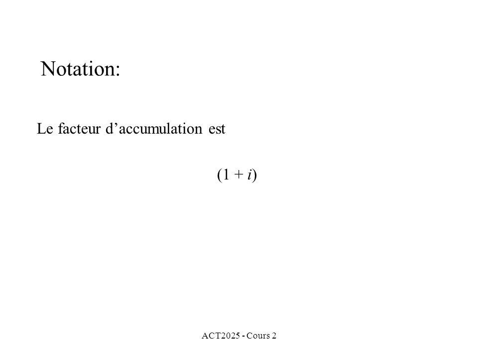 ACT2025 - Cours 2 Notation: Le facteur daccumulation est (1 + i)