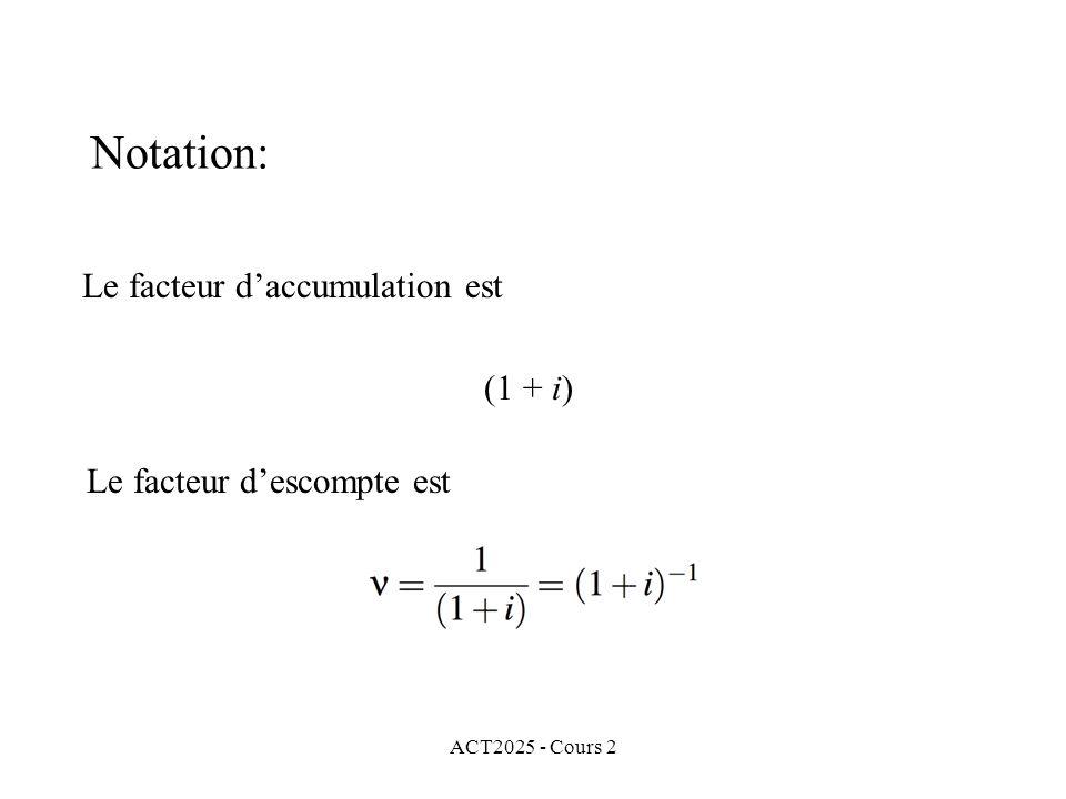 ACT2025 - Cours 2 Notation: Le facteur daccumulation est (1 + i) Le facteur descompte est