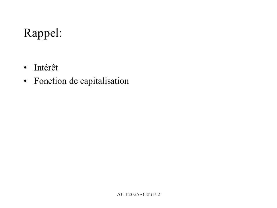 ACT2025 - Cours 2 Rappel: Intérêt Fonction de capitalisation