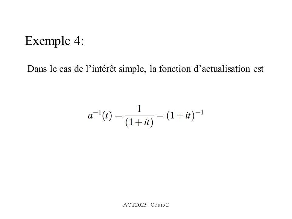 ACT2025 - Cours 2 Exemple 4: Dans le cas de lintérêt simple, la fonction dactualisation est