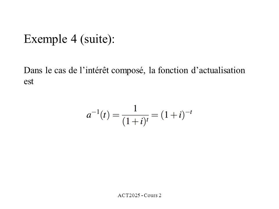 ACT2025 - Cours 2 Exemple 4 (suite): Dans le cas de lintérêt composé, la fonction dactualisation est