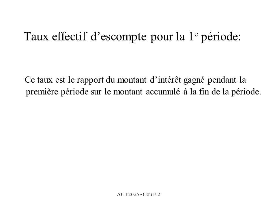 ACT2025 - Cours 2 Taux effectif descompte pour la 1 e période: Ce taux est le rapport du montant dintérêt gagné pendant la première période sur le montant accumulé à la fin de la période.