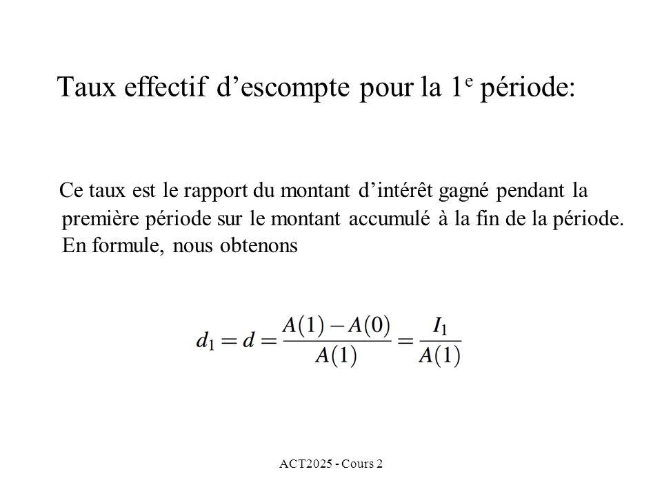 ACT2025 - Cours 2 Taux effectif descompte pour la 1 e période: Ce taux est le rapport du montant dintérêt gagné pendant la première période sur le mon