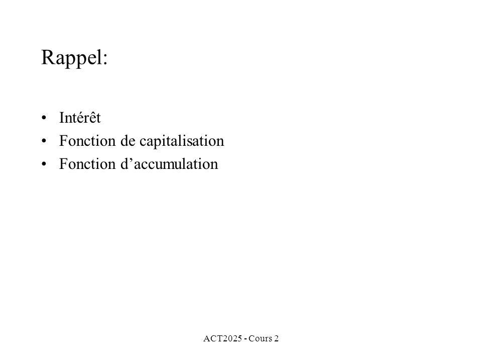 ACT2025 - Cours 2 Rappel: Intérêt Fonction de capitalisation Fonction daccumulation