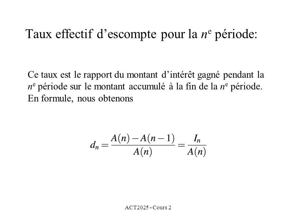 ACT2025 - Cours 2 Taux effectif descompte pour la n e période: Ce taux est le rapport du montant dintérêt gagné pendant la n e période sur le montant accumulé à la fin de la n e période.