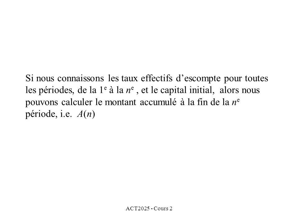 ACT2025 - Cours 2 Si nous connaissons les taux effectifs descompte pour toutes les périodes, de la 1 e à la n e, et le capital initial, alors nous pouvons calculer le montant accumulé à la fin de la n e période, i.e.