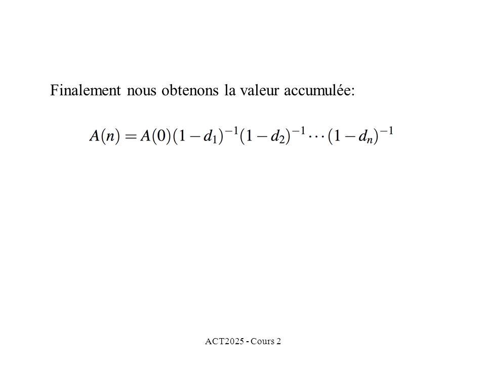 ACT2025 - Cours 2 Finalement nous obtenons la valeur accumulée: