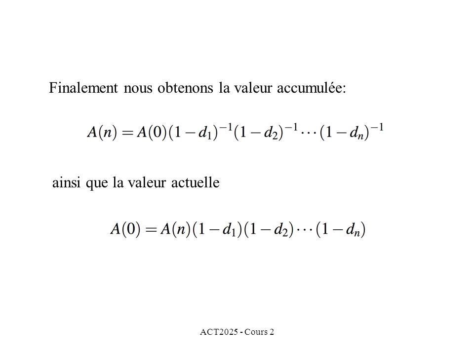 ACT2025 - Cours 2 Finalement nous obtenons la valeur accumulée: ainsi que la valeur actuelle