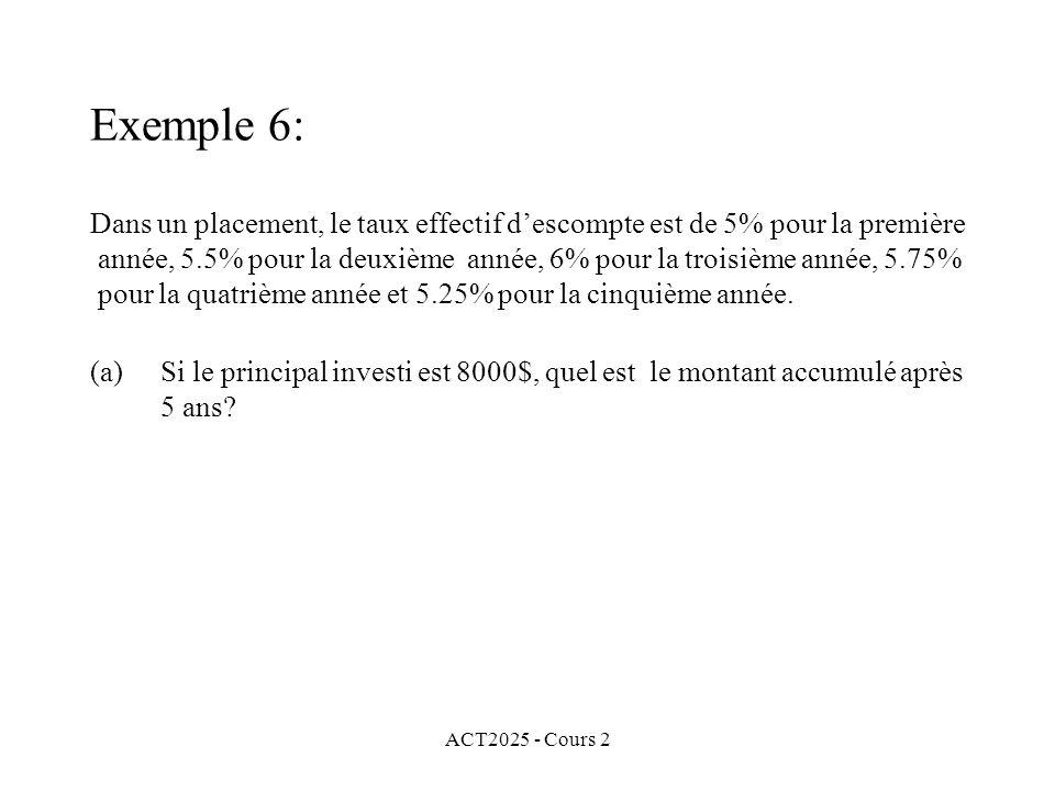 ACT2025 - Cours 2 Exemple 6: Dans un placement, le taux effectif descompte est de 5% pour la première année, 5.5% pour la deuxième année, 6% pour la troisième année, 5.75% pour la quatrième année et 5.25% pour la cinquième année.