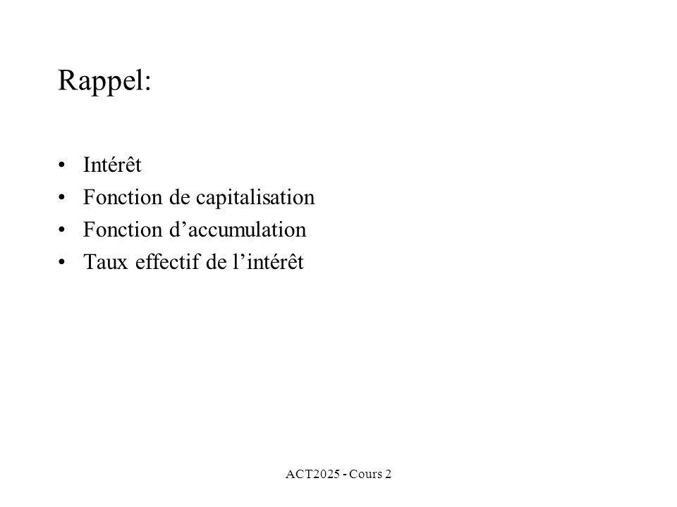 ACT2025 - Cours 2 Rappel: Intérêt Fonction de capitalisation Fonction daccumulation Taux effectif de lintérêt
